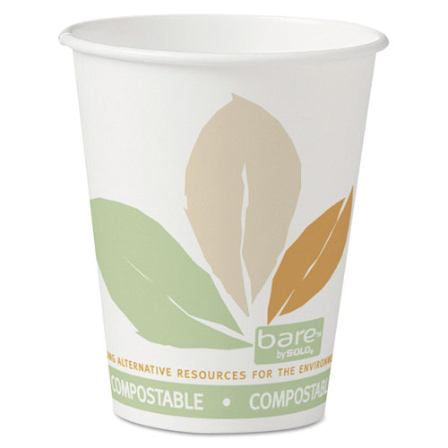 Bare by Solo Eco-Forward PLA Paper Hot Cups, 8 oz, Leaf Design,50/Bag,20 Bags/Ct 378PLABB