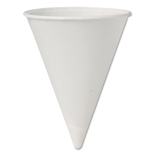 Eco-Forward Paper Cone Water Cups, 4.25oz, White, 200/Sleeve, 25 Sleeves/Carton 42BRBB