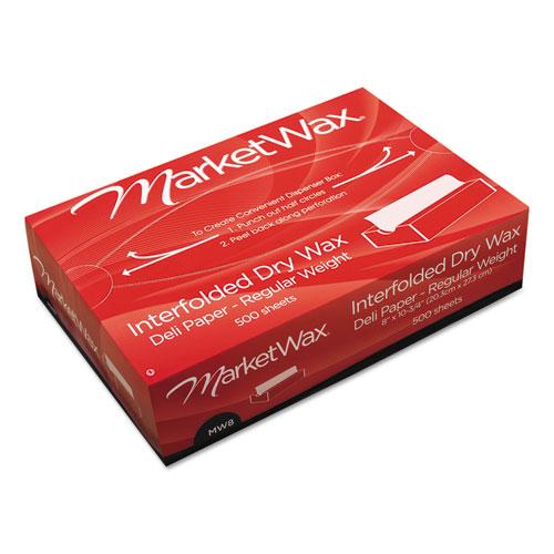 Interfolded Dry Wax Deli Paper, 8 x 10-3/4, White, 500/Box, 12 Boxes/Carton