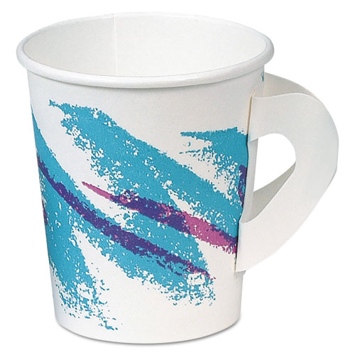 Jazz Hot Paper Cups with Handles, 6oz., Polycoated, Jazz Design, 50/Bag, 20/CT 376HJZJ