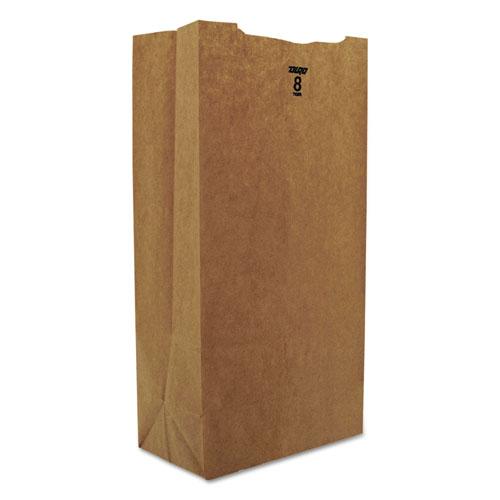 "Grocery Paper Bags, 35 lbs Capacity, #8, 6.13""w x 4.17""d x 12.44""h, Kraft, 2,000 Bags BAGGK8"