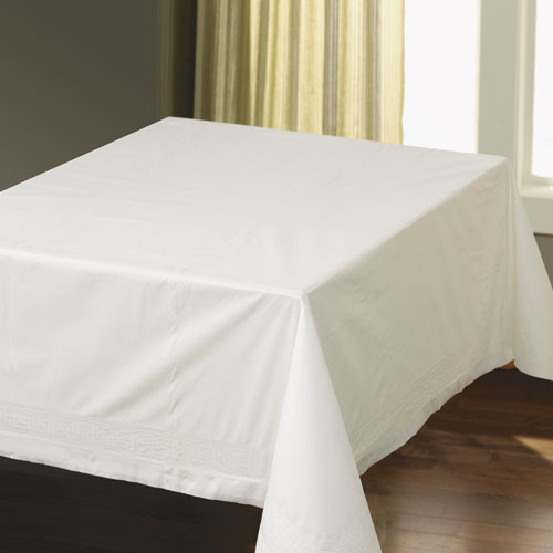 Tissue/Poly Tablecovers, Square, 82 x 82, White, 25/Carton