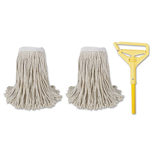 Cut-End Mop Kits, 24, Natural, 60 Metal/Plastic Handle, Yellow