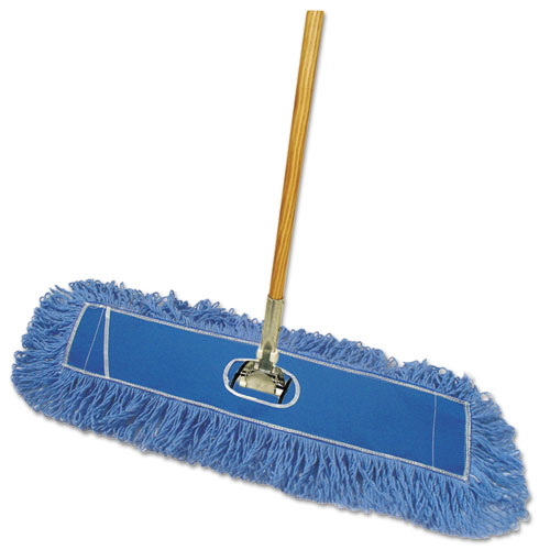 Looped-End Dust Mop Kit, 36 x 5, 60 Metal/Wood Handle, Blue/Natural