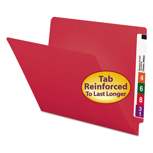 Smead® Reinforced End Tab Colored Folders, Straight Tab, Letter Size, Red, 100/Box