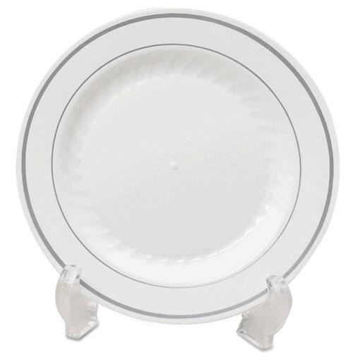 "Masterpiece Plastic Dinnerware, Plate, White/silver, 7 1/2"", 15/pk, 10 Pk/ct"