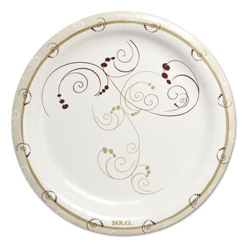"Symphony Heavyweight Paper Dinnerware, 9"", Round, White/Beige/Red,125/PK, 4PK/CT | by Plexsupply"