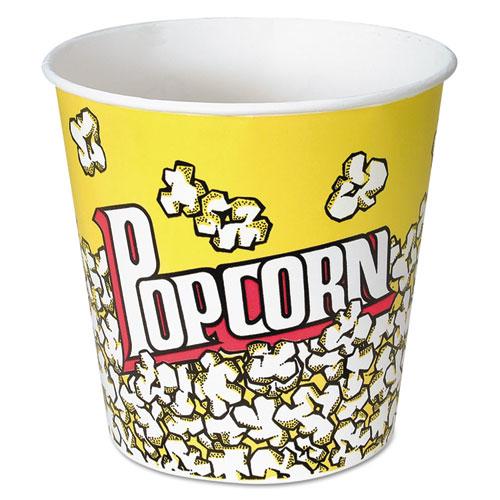 Dart® Paper Popcorn Bucket, Popcorn Design, 85 oz, Yellow/Red, 15/Pack, 10 Packs/Carton