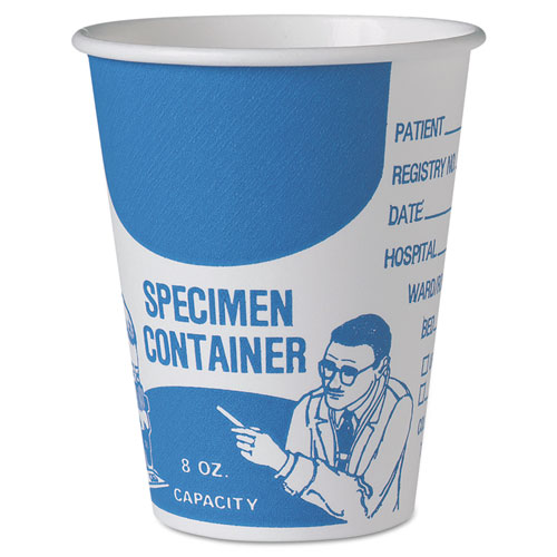 Paper Specimen Cups, 8 oz, Blue/White, 20/Carton