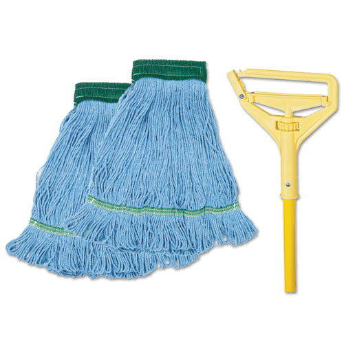 Looped-End Mop Kit, Medium, 60 Metal/Polypropylene Handle, Blue/Yellow