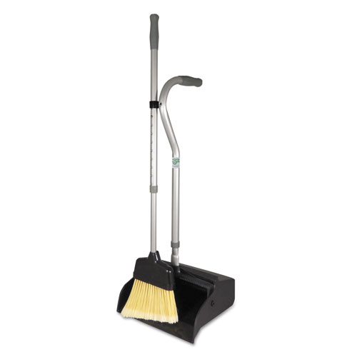 Telescopic Ergo Dust Pan with Broom, 12 Wide, 45 High, Metal, Gray/Silver
