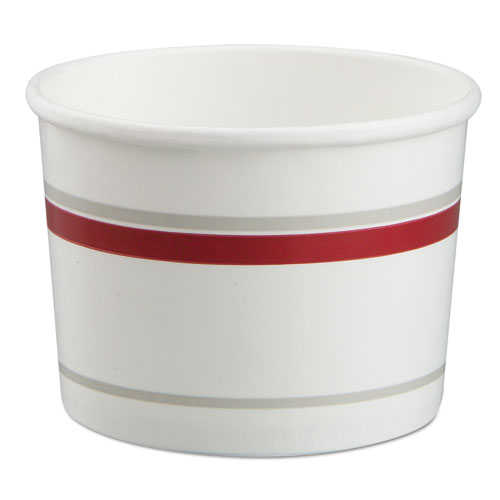 Chinet® Paper Food Container with Vented Lid Combo, 16 oz, Polycoated, White/Red, 250/CT