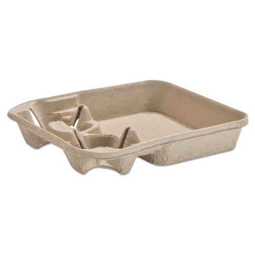 StrongHolder Molded Fiber Cup/Food Tray, 8-22oz, Two Cups, 250/Carton