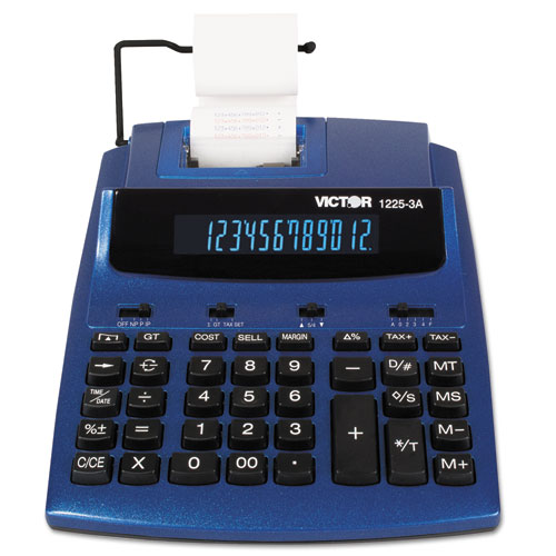 1225-3A Antimicrobial Two-Color Printing Calculator, Blue/Red Print, 3 Lines/Sec | by Plexsupply