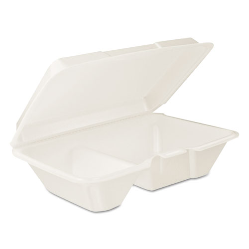 Dart® Hinged Lid Carryout Container, White, 9 1/3 x 2 9/10 x 6 2/5, 100/BG, 2 BG/CT