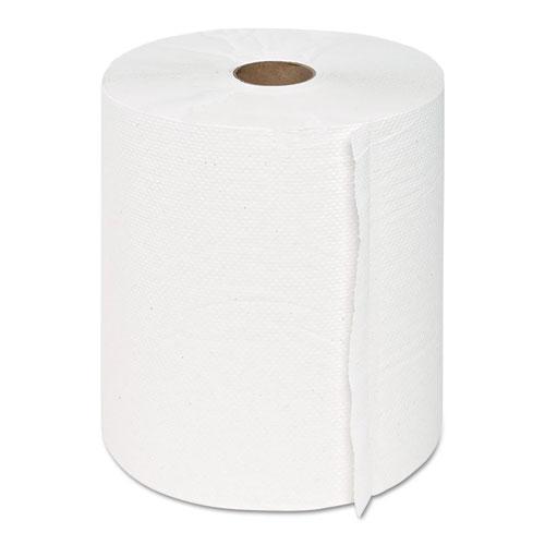 "GEN Hardwound Roll Towels, 1-Ply, White, 8"" x 600 ft, 12 Rolls/Carton"