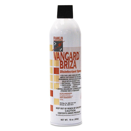 Franklin Cleaning Technology® Vangard Briza Surface Disinfectant/Space Spray, Linen Fresh, 16oz Aerosol, 12/CT
