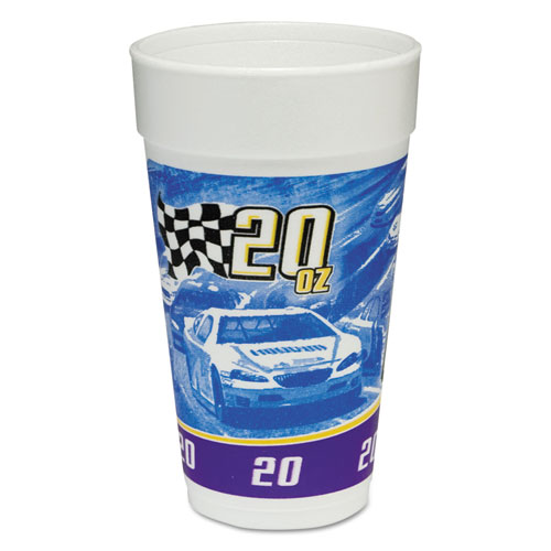 RPM Stock Print Foam Hot/Cold Cups, 20oz, Purple/Blue/Yellow/Black, 25/BG, 20/CT 20J16RPM