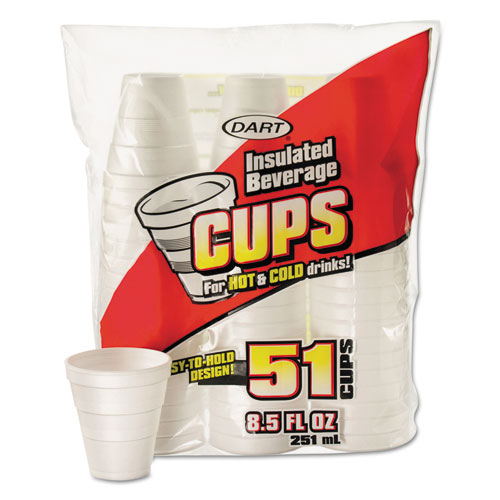 Drink Foam Cups, 8.5 oz, White, 51/Bag, 24 Bags/Carton 8RP51