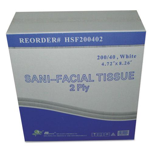 Sani Facial Tissue, 2-Ply, White, 40 Sheets/Box