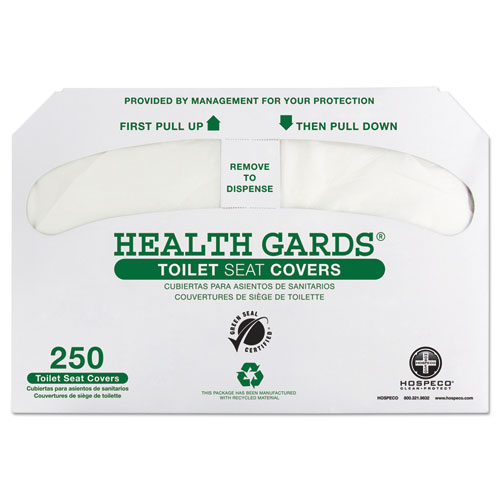 Health Gards Green Seal Recycled Toilet Seat Covers, 14.75 x 16.5, White, 250/Pack, 4 Packs/Carton