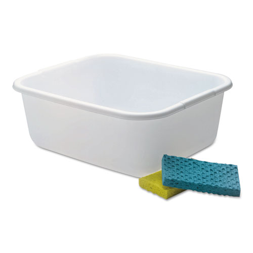 Microban Dishpan, 4.5 gal, 14.5 x 12.5 x 5.7, White, 6/Carton