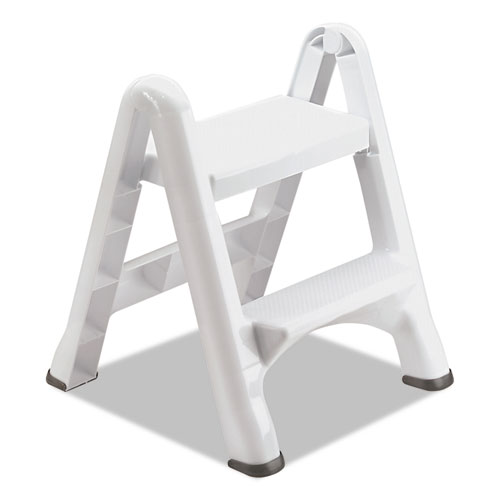 Rubbermaid® EZ Step Two-Step Folding Stool, 19 1/2 x 20 3/5 x 22 7/10, White, 3/Carton