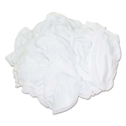 HOSPECO® New Bleached White T-Shirt Rags, Multi-Fabric, 25 lb Polybag