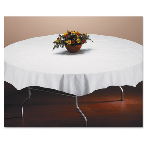 Tissue/Poly Tablecovers, 82 Diameter, White, 25/Carton