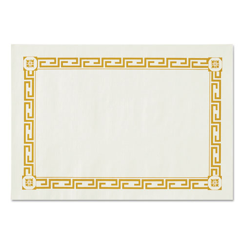 Placemats, Greek Key Pattern, Paper, Gold/White, 14 x 10, 1000/Carton