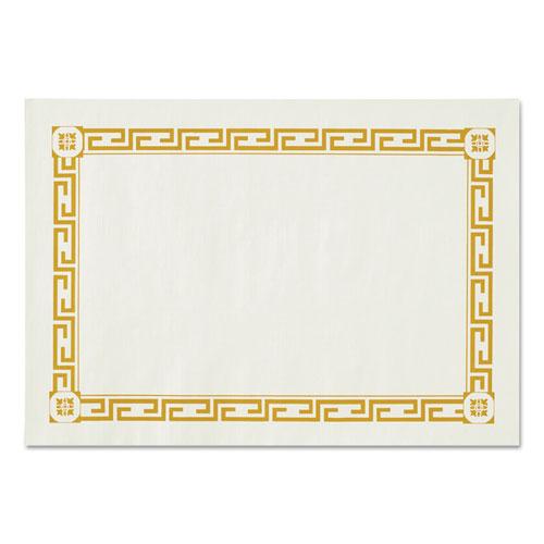 Placemats, Greek Key Pattern, Paper, Gold/White, 14 x 10, 1000/Carton