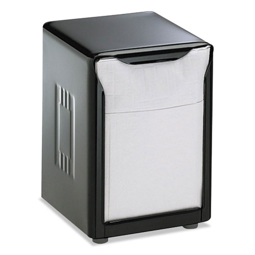 Tabletop Napkin Dispenser, Low Fold, 3 3/4 x 4 x 5 1/2, Capacity: 150, Black | by Plexsupply