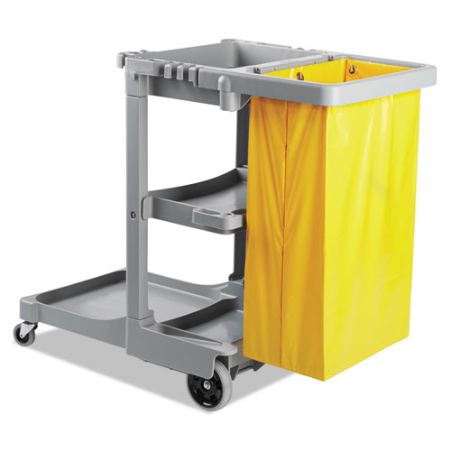 Janitors Cart, Three-Shelf, 22w x 44d x 38h, Gray
