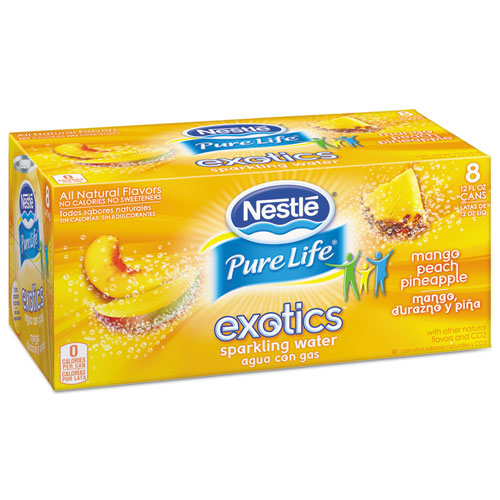 Nestle Waters® Pure Life Exotics Sparkling Water, Mango Peach Pineapple, 12oz Can, 24/Carton