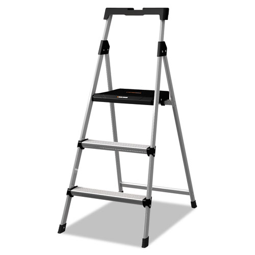Louisville® Aluminum Step Stool Ladder, 2-Step, 225 lb Capacity, 18.5w x 23.5 spread x 38.5h, Silver
