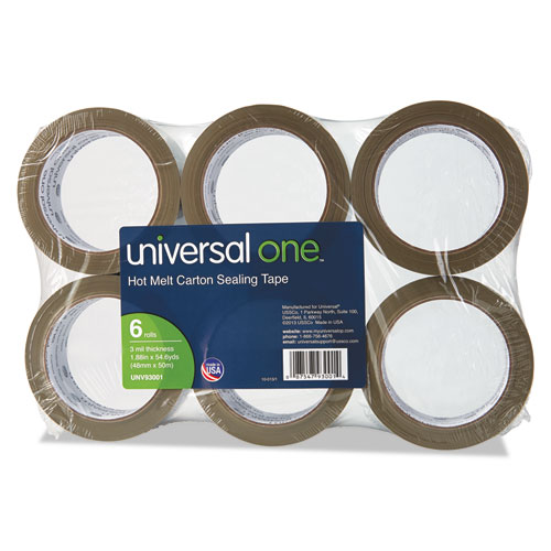 "Universal® Heavy-Duty Box Sealing Tape, 48mm x 50m, 3"" Core, Tan, 6/Pack"