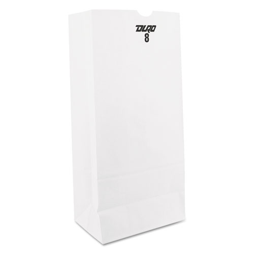 """Grocery Paper Bags, 35 lbs Capacity, #8, 6.13""""w x 4.17""""d x 12.44""""h, White, 500 Bags BAGGW8500"""