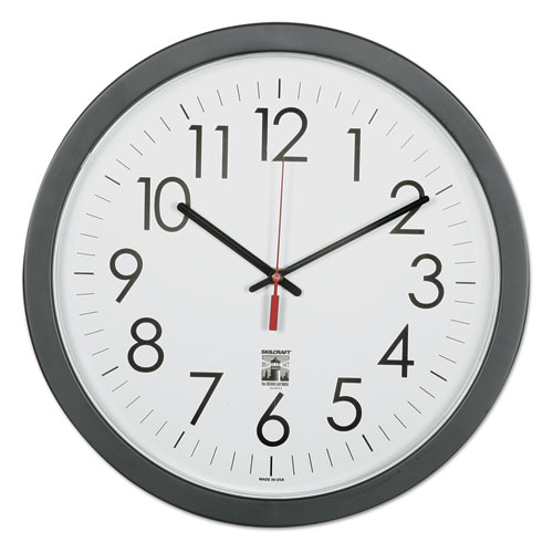 6645016238823 SKILCRAFT Self-Set Wall Clock, 14.5 Overall Diameter, Black Case, 1 AA (sold separately)