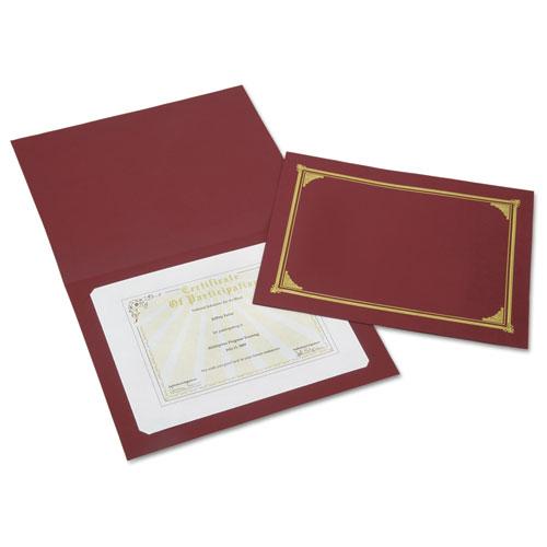 7510016272958 SKILCRAFT Gold Foil Document Cover, 12 1/2 x 9 3/4, Burgundy, 6/Pk