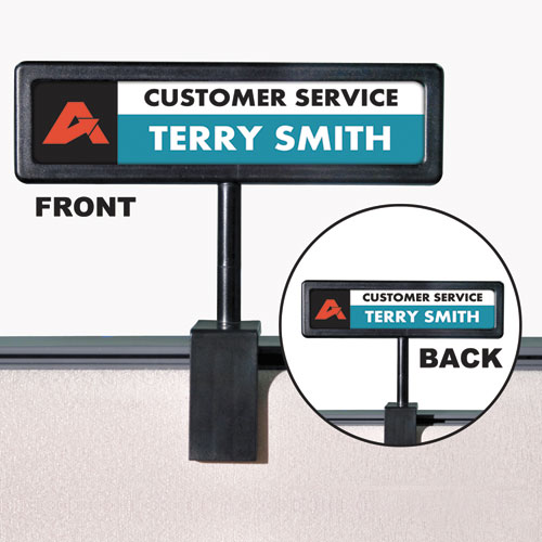 People Pointer Cubicle Sign, Plastic, 8.5 x 2, Black | by Plexsupply