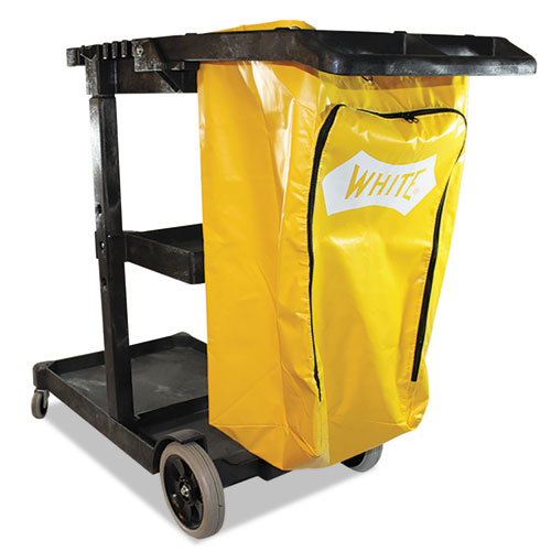 Janitorial Cart, Three-Shelves, 20.5w x 48d x 38h, Yellow