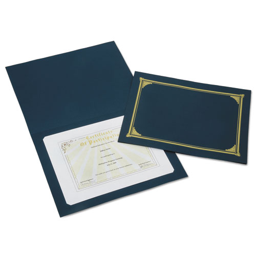 7520015195771 SKILCRAFT Gold Foil Document Cover, 12 1/2 x 9 3/4, Blue, 5/Pack