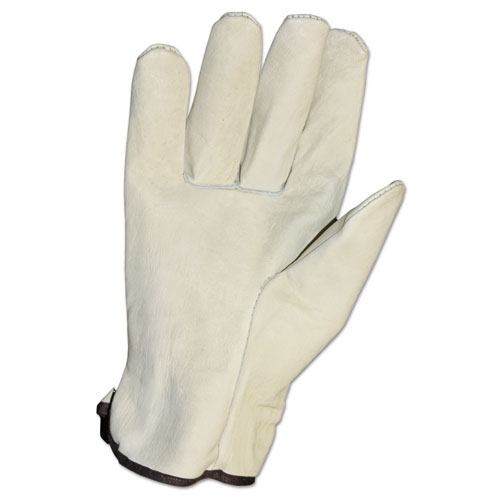 ProGuard Grain Leather Drivers Unlined Style - Large Size - Cowhide Leather - Cream - Elastic Back - IMP8060L