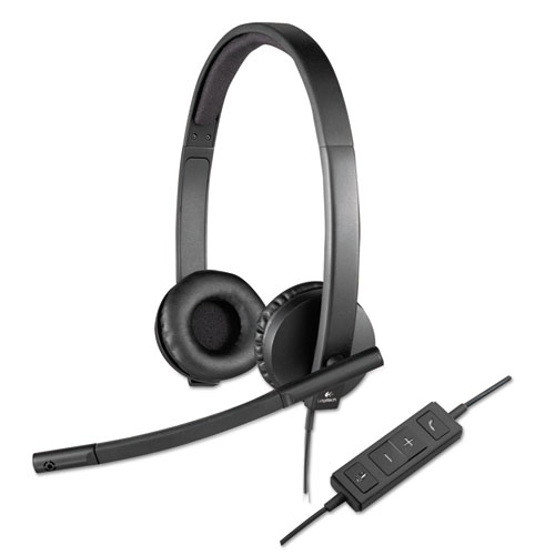 Logitech® USB H570e Over-the-Head Wired Headset, Binaural, Black