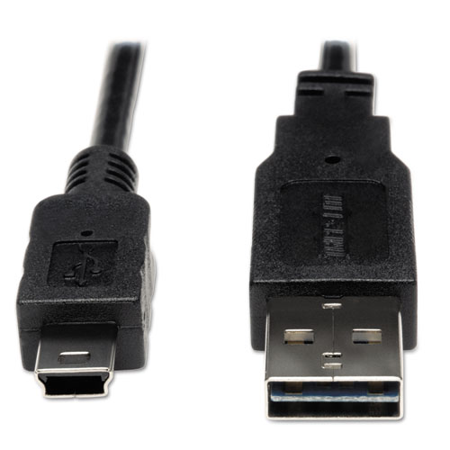 Universal Reversible USB 2.0 Cable, Reversible A to 5-Pin Mini B (M/M), 6 ft. | by Plexsupply