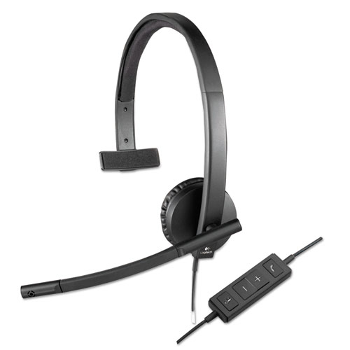 USB H570e Over-the-Head Wired Headset, Monaural, Black | by Plexsupply