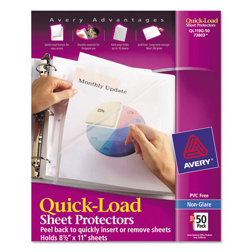 Quick Top & Side Loading Sheet Protectors, Letter, Non-Glare, 50/Box | by Plexsupply