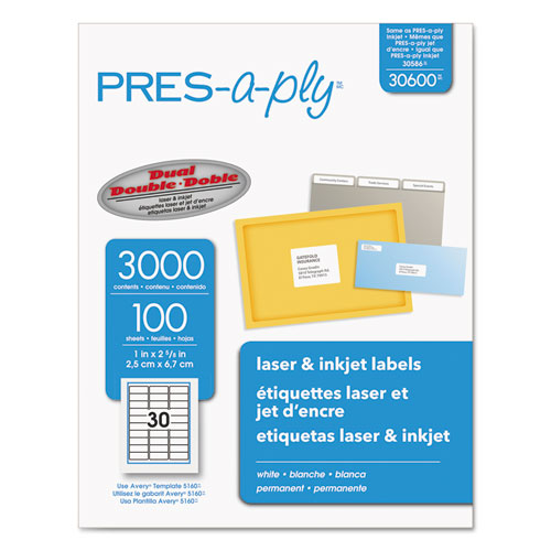 PRES-a-ply® Labels, Laser Printers, 1 x 2.63, White, 30/Sheet, 100 Sheets/Box