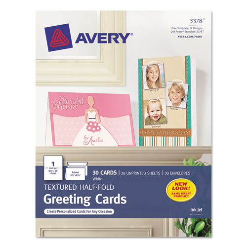 Textured Half-Fold Greeting Cards, Inkjet, 5 1/2 x 8.5, Wht, 30/Bx w/Envelopes