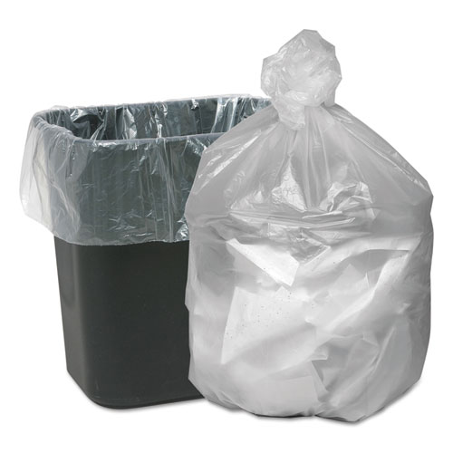 """Waste Can Liners, 10 gal, 6 microns, 24"""" x 24"""", Natural, 1,000/Carton"""